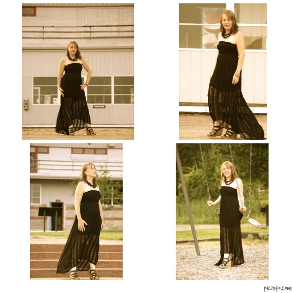 collage with longdress
