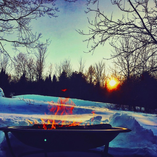 outdoor fire at sunset in Vermont