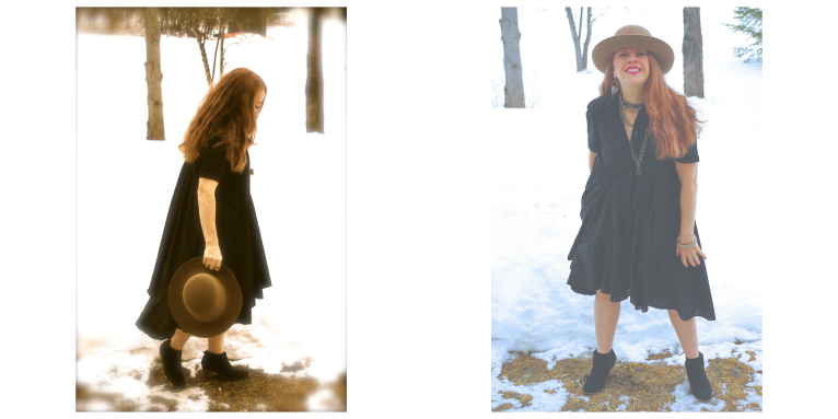All Saints black dress with hipster hat