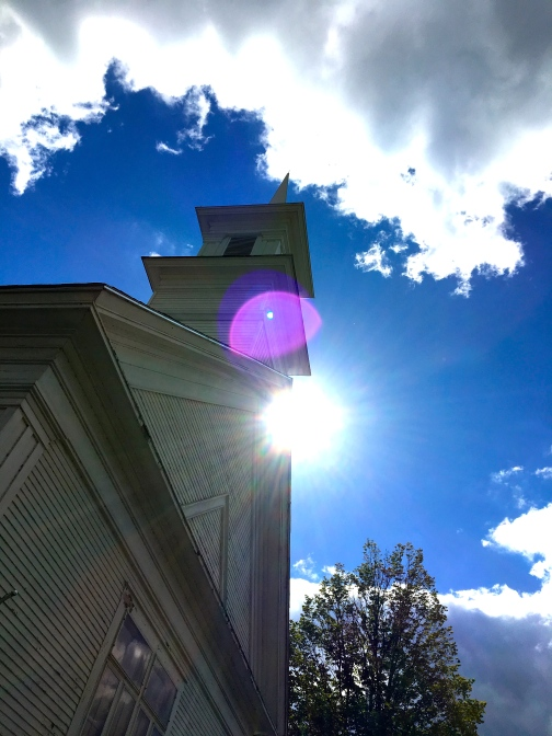 church stepple against the blue sky