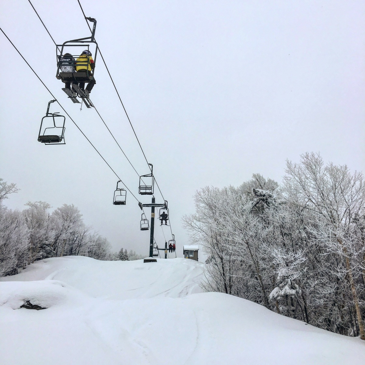 chairlift headed up the mountain in Vermont
