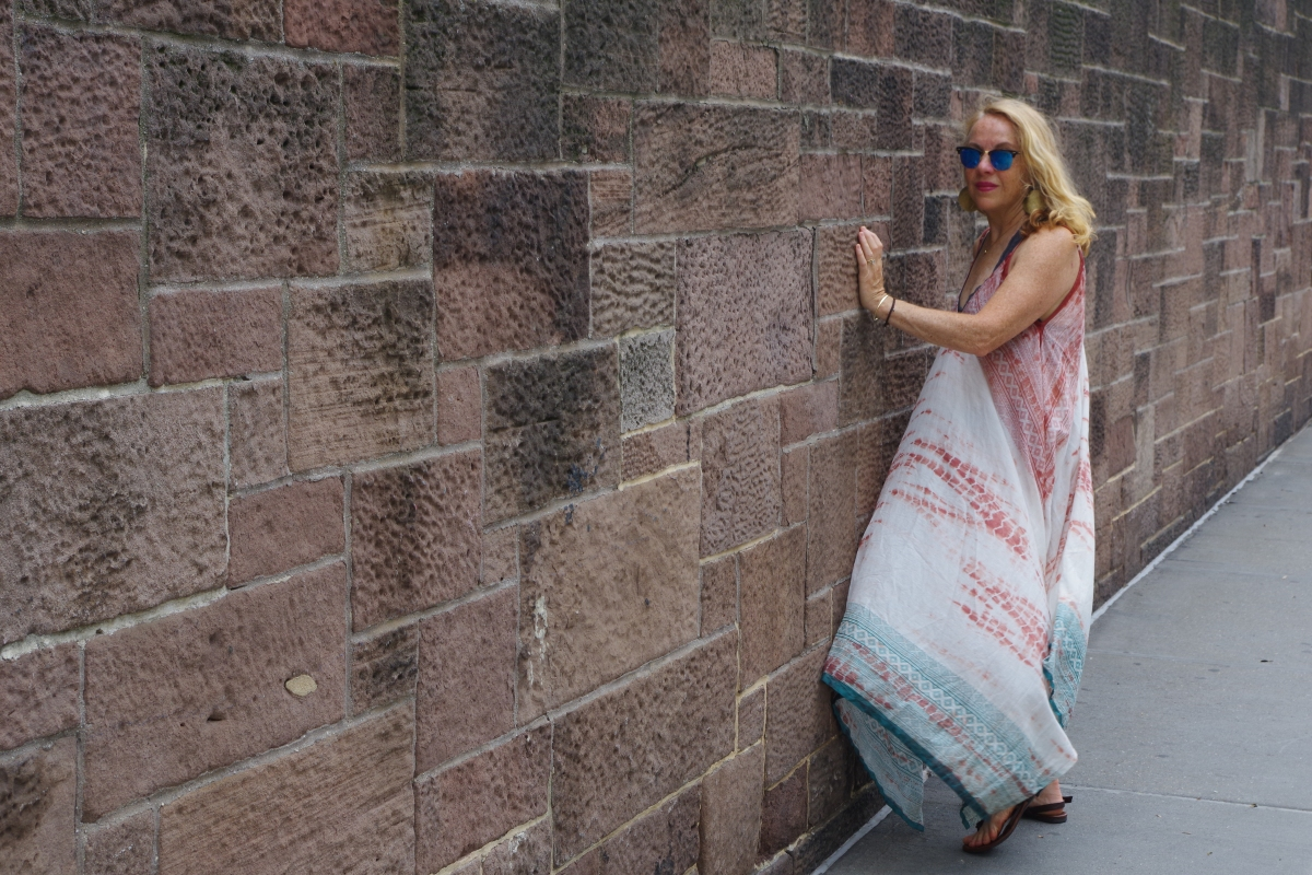 NYC stone wall with model