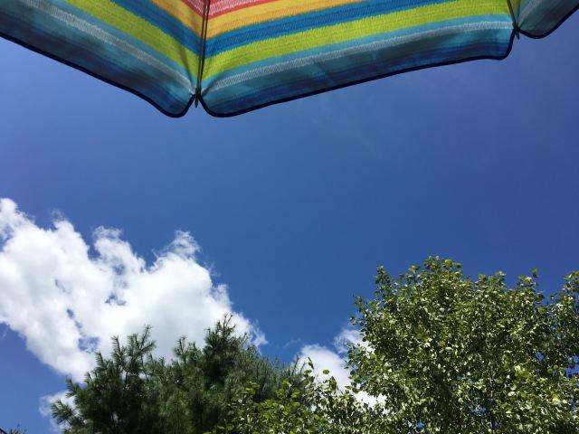 summer awning under a blue sky