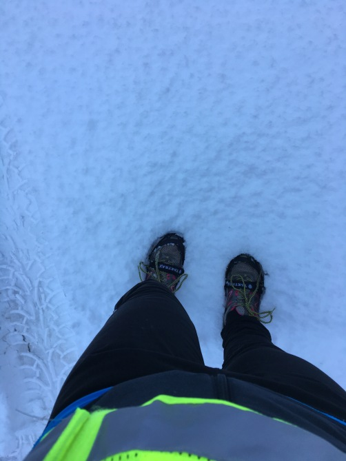 snow running with yaktrax