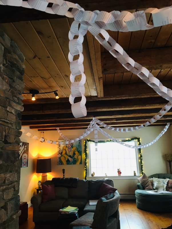 paper chains across a room at Christmas time