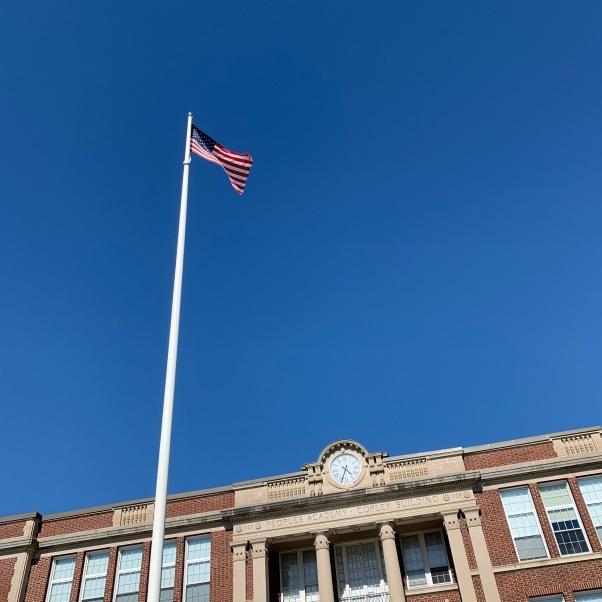 high school with flag