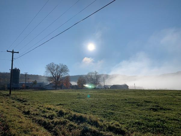 farm on a misty morning