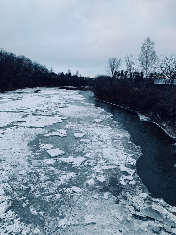 frozen river in Vermont